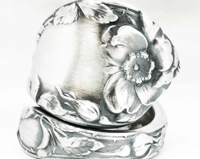 Chunky Rose Ring, Antique Sterling Silver Spoon Ring, Reed & Barton ca 1900, Wild Rose Ring, Floral Gift for Her, Custom Ring Size (7119)