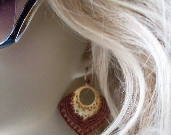 Macrame Earrings Fiber Art Jewelry  Beaconhillcollect  We Ship Internationally