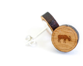 Moose Stud Earring, Wooden Earring, Gift For Him or Her, Wedding Gifts, Groomsman Gifts, Bridesmaid Gifts, and Personalized