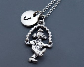 Clown necklace, Juggling clown necklace, Juggler, Silver clown charm, Clown juggler, initial necklace, personalized, monogram