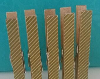 Gold Stripe Decorative Clothes Pins