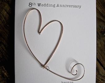 8th Wedding Anniversary Keepsake Card BRONZE Wire Heart 8