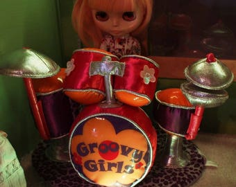Vintage Super Fun Playscale Blythe Groovy Girl Drum Set