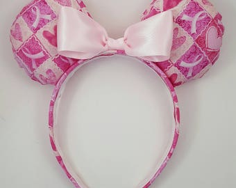 Breast Cancer Awareness Minnie Mouse Ears - Disney Inspired Mouse Ears - Minnie Mouse Inspired Ears
