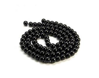 20 beads - shiny black - 4 mm