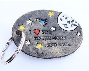 To The Moon and Back Personalized Leather Keychain