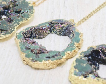 Black Druzy Necklace, Rainbow Druzy Necklace, Statement Necklace, Birthday Gift, Black Necklace, Black and Gold, Black Geode, Agate Necklace