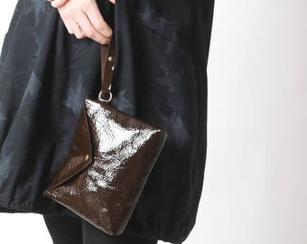 """Shiny brown leather clutch, Evening leather pouch, Dark brown clutch bag, brown varnished leather purse, MALAM, 9x7"""" - 22x17"""