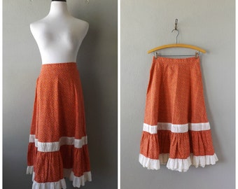 Floral Praire Skirt Vintage 70s High Waisted Cotton Ruffle Skirt S/M Small Medium Small Flower Print Lace Hippie Boho 1970s Country Hippy