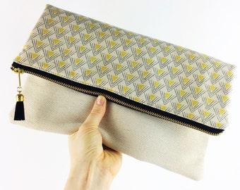 Black and cream geometric fold over clutch bag - Handbag, clutch bag, wedding outfit, going out bag, triangle design,