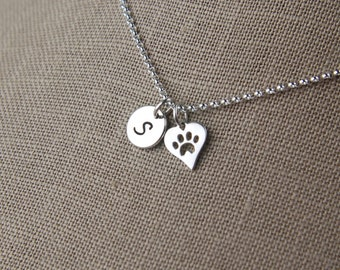 Small initial and heart shaped paw print charm necklace in sterling silver, heart charm, cat necklace, dog necklace, mother's day
