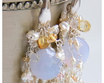 Chalcedony and Keishi Pearl earrings with Imperial Topaz, Golden Rutilated Quartz and Moonstone