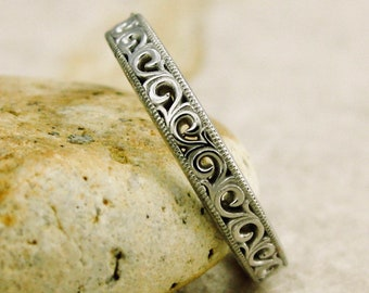 Handmade Floral Patterned Wedding Ring in 14K White Gold with Scrolls and Mil Grain Detailing on Edges Size 5