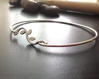 Personalized  Bangle - LEAF- Sterling Silver -  Bracelet