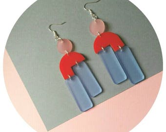 Powder blue and high shine red Acrylic drop earrings with rose detail