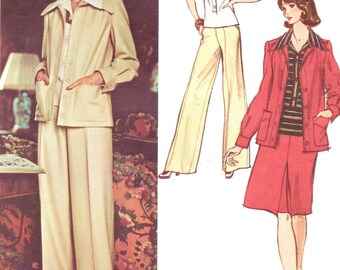 1970s Christian Dior Womens Boho Jacket, Blouse, Wide Legged Pants & Skirt Vogue Paris Original Sewing Pattern 2904 Size 12 Bust 34