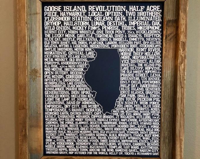 Beers of Illinois Word Map (Dark Blue) - Unframed