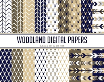 Instant Download Tan, Brown, Navy Woodland Digital papers ( PDW003 )