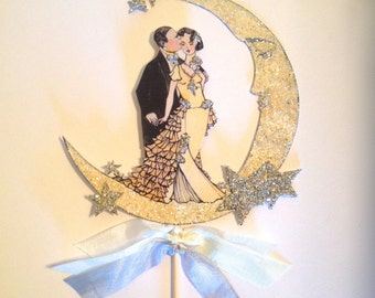 Wedding Cake Topper, Great Gatsby, Art Deco, Bride and Groom, Sterling Silver Glitter, Moon