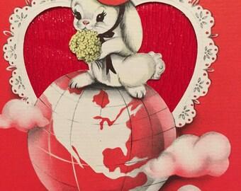 Vintage Valentine Card Unused NOS Wife Vintage Bunnies Fifties