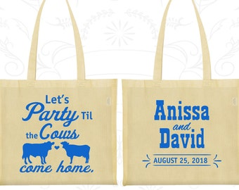 Let's Party till the Cows come Home Bags, Custom Bags, Cows, Tote Bag Personalized (222)