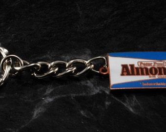 Vintage Key Chain Almond Joy Candy Bar Copper Pendant On a Silver Tone Key Chain