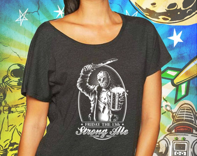 Friday the 13th / Jason's Strong Ale / Vintage Black Women's Dolman