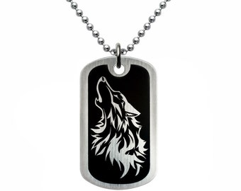 Wolf Dog Tag Necklace, Stainless Steel Dog Tag Necklace, Laser Engrave Dog Tag Necklace with Wolf Design, Father's Day Gift 24 inches SSN454