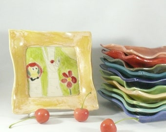 Pottery Square Side plate spoon rest candle holder trinket dish key bowl bread plate salad dish snack tray Owl Aspen Tree Art Gift for her