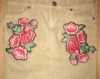 Floral Embroidered Corduroy skirt