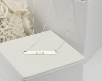 Bar Necklace, Personalized Name Plate Necklace, Silver Name Bar Necklace: Layered and Long Bar Necklace 35mm x 4.5mm LC404
