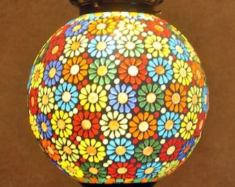 New Multi Color Moroccan Design Globe Style Glass Pendant Light
