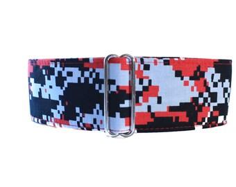 Camo Martingale Collar, Wide Dog Collar, Camo Dog Collar, Red Martingale, Greyhound Collar, Red Dog Collar, Whippet Collar