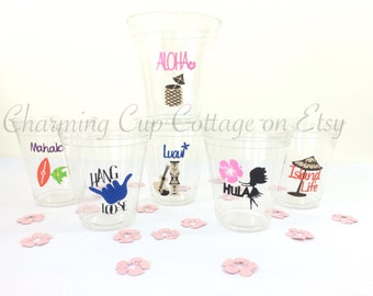 Luau Party Cups/Luau Party/Luau/Luau Cups/Luau Decorations/Luau Party Theme/Luau Party Ideas/Luau Theme Party/Luau Theme/Luau Party Favor
