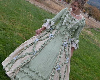French Court Renaissance Princess Queen Marie Antoinette Dress Costume, Green and Beige, Puffing and Lace, M