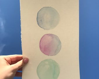Circle watercolor pastel art