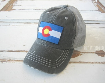 Colorado hat, CO hat, Colorado cap, women's colorado hat, CO patch, gray hat, hat, trucker hat, Colorado gifts, birthday gift for woman