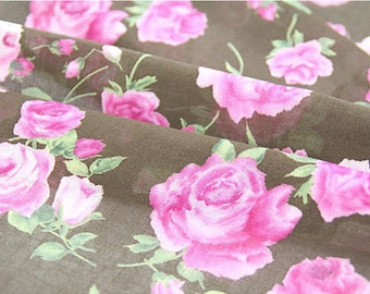 Red Rose Gauze Fabric, Flower Gauze Fabric, Brown Gauze Fabric - By the Yard 89384
