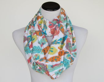 Feathers scarf feather print scarf infinity scarf soft jersey knit scarf autumn colors scarf boho bohemian pastel teal orange yellow white