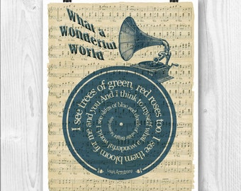 Louis Armstrong Print, What a wonderful world, Lyrics in spiral over sheet music reproduction, Song Poster, Wedding gift, Wedding song