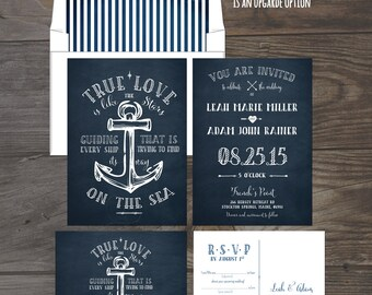 True Love Nautical Anchor Wedding Invitation and RSVP Card Cruise ship wedding invitation Navy invitation DEPOSIT Payment