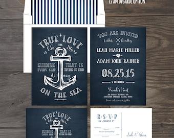 True Love Nautical Anchor Wedding Invitation and RSVP Card Cruise ship wedding invitation Navy invitation DEPOSIT Payment