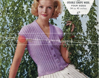 Lady's Summer Cardigan DK 34-40ins Sirdar 1827 Vintage Knitting Pattern PDF instant download