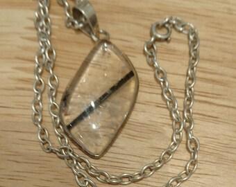 Sterling silver quartz pendant and chain