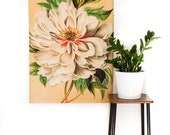 Botanical Print Fabric wall art/ WHITE PEONY FABRIC  wall hanging/ Floral wall decor/ Vintage wall art/ giant floral poster/ flower print