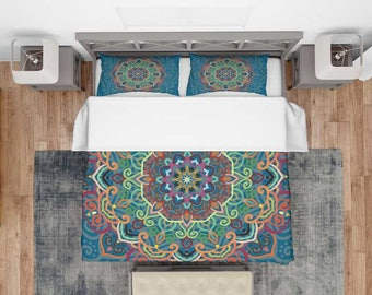 Boho Bedding Set, Bohemian Mandala Bedding, Mandala Bed Sheet, Mandala Bed Set, Indian Mandala Bedspread