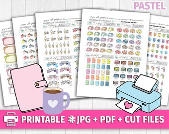 PASTEL Multicolor Functional Deco/Printable Planner Stickers/for use with Erin Condren/Cutfiles/Summer Coffee Pink Cute