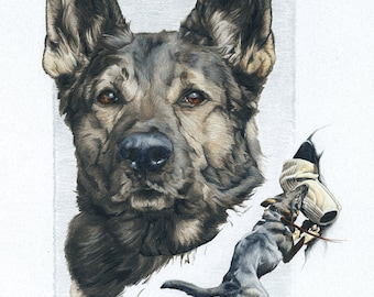 Print of German Shepherd Police K9 Drawing