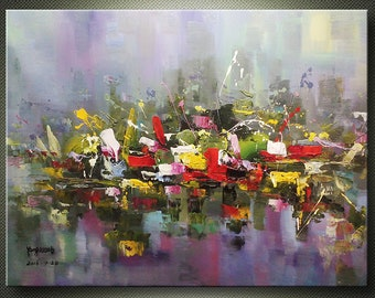 "36"" < City In The Rain > Original Contemporary Modern Abstract Art Oil Painting On Canvas Wall Art Home Decor Big Apple Cosmopolitan Urban"