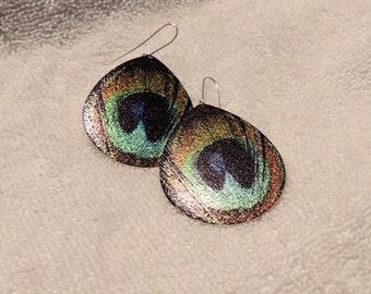 peacock earrings lightweight dangle metal